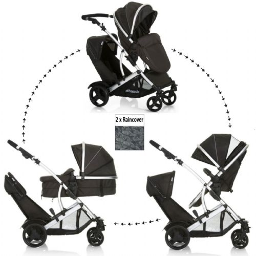 NEW HAUCK CHARCOAL BLACK DUETT 2 DOUBLE TANDEM PUSHCHAIR TWIN PRAM& RAINCOVERS